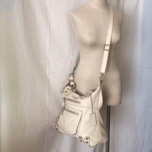 Linea Pelle Shoulder Crossbody Handbag Cream